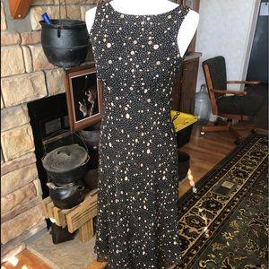 Talbots size 4 polka dot dress 100% silk side zip